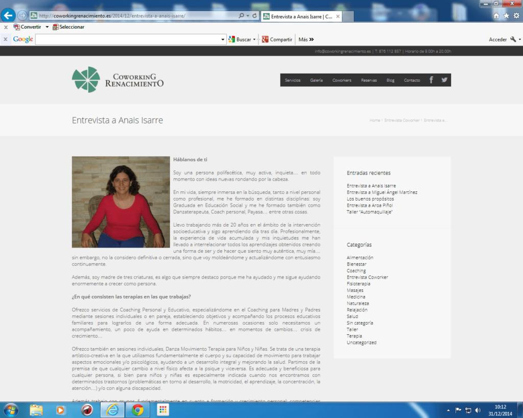 Entrevista a Anaís Isarre en Coworking Renacimiento