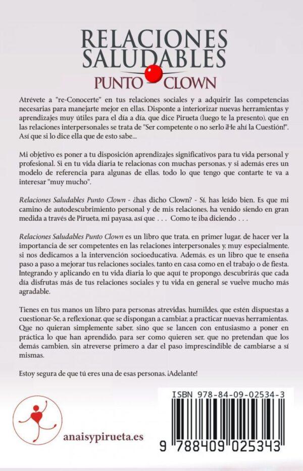 Trasera del libro Relaciones Saludables Punto Clown, de Anaís Isarre
