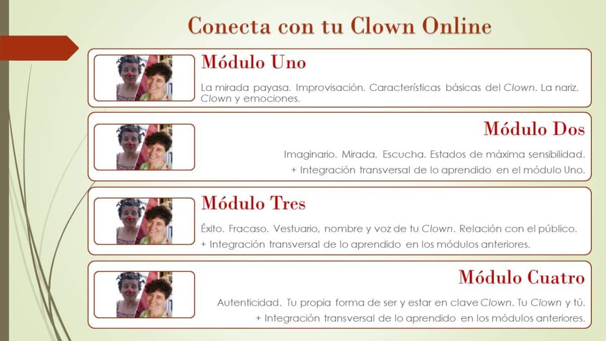 conecta clown online contenidos