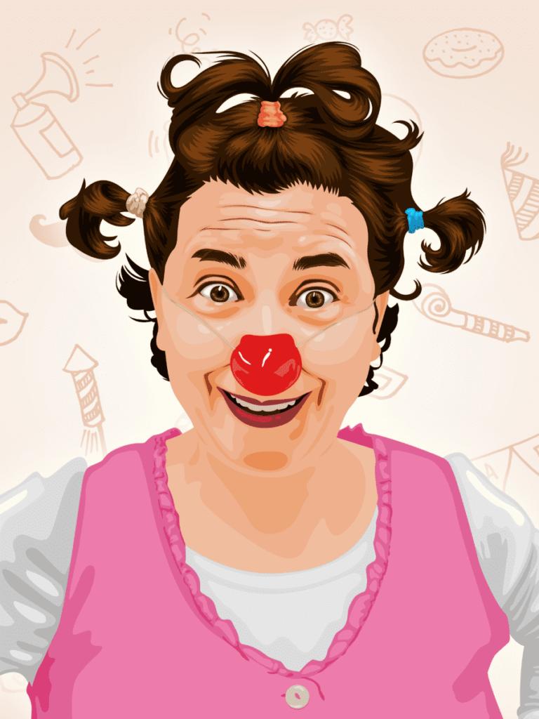 Pirueta clown dibujo